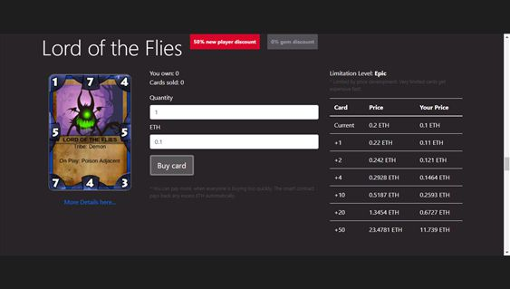 Ethercards Online - Trading Card Game | Dapp com Where The