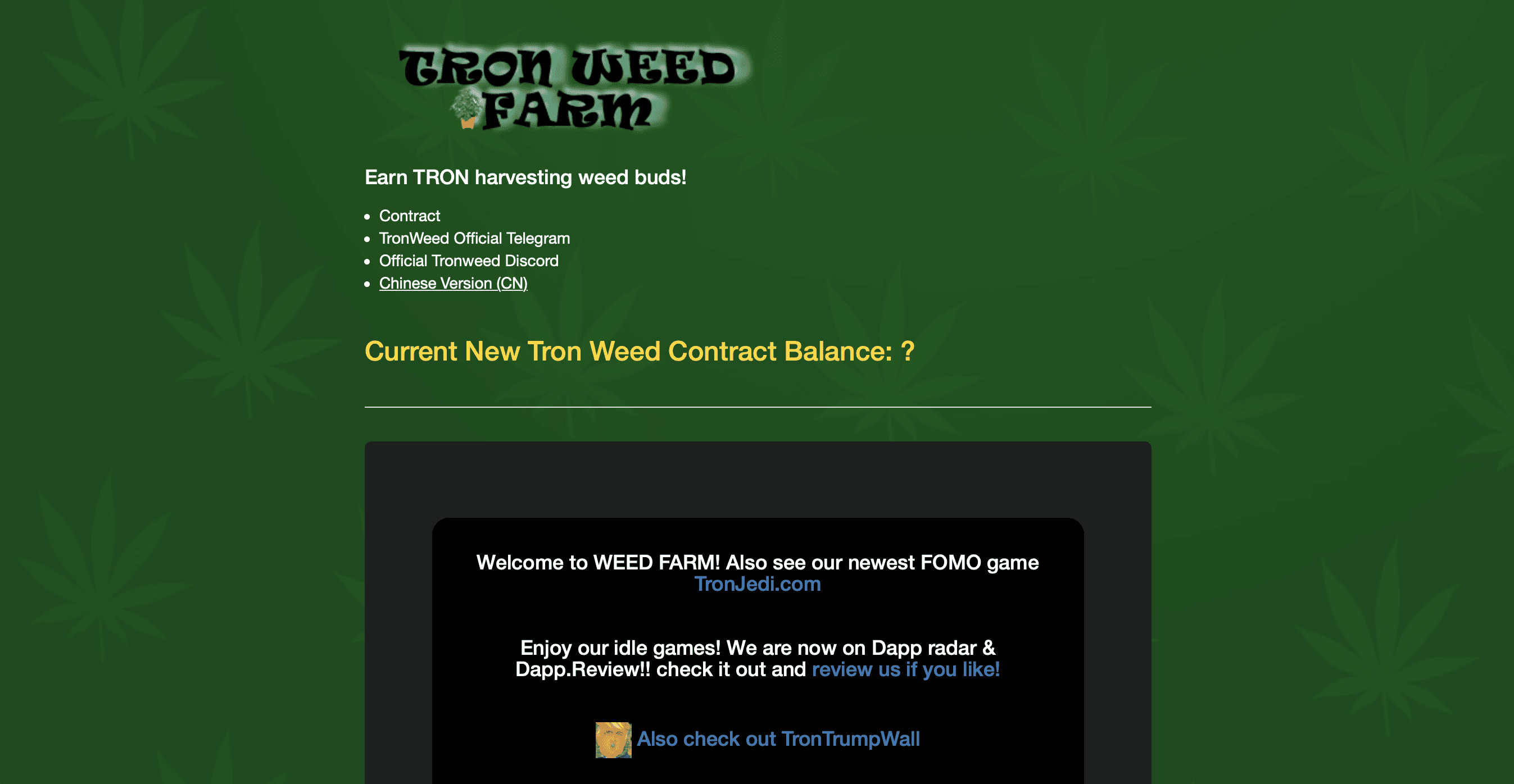 Tron Weed Farm | Dapp com Where The Blockchain Comes Alive